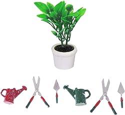 Baoblaze 1/12 Miniatura Herramienta de Jardín de Metal Tijeras Pala Regadera + Planta Verde en Maceta Decoración de Casa de Muñeca