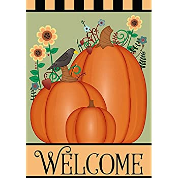 Fall Pumpkins Welcome Garden Flag Double Sided