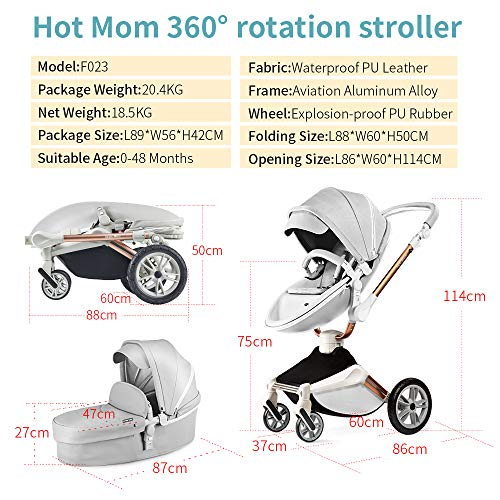 51CHEImVzPL - Baby Stroller 360 Degree Rotation Function,Hot Mom Baby Carriage Pu Leather Pushchair Pram 2020,Grey