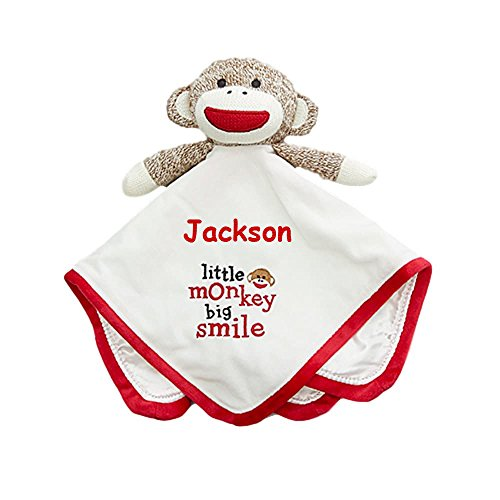 Baby Starters Personalized Sock Monkey Red and White Little Monkey Big Smile Snuggle Buddy Baby Blanket Blankie with Plush Animal and Name Embroidery