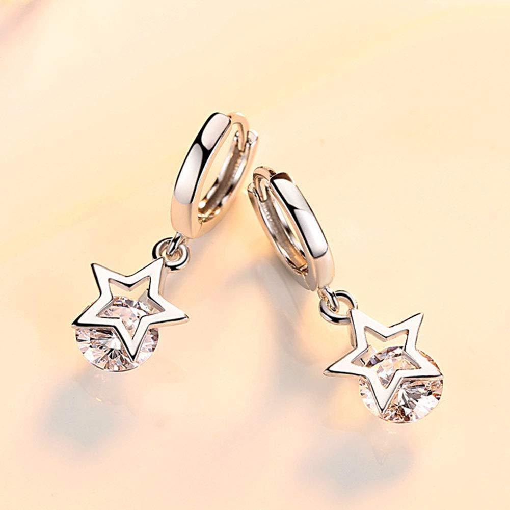 Mandio 925 Sterling Silver Leverback Dangle Earrings Star Drop 5A Center Cubic Zirconia Earrings for Women Girls Laides