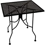 American Tables & Seating ALM3030 Outdoor Table, Square Mesh Top with Umbrella Hole, Powder Coat, 30'' x 30'' x 29'', Black