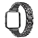 bayite Metal Bands with Frame Compatible Fitbit Blaze, Rhinestone Bling Replacement Accessory Bracelet Women