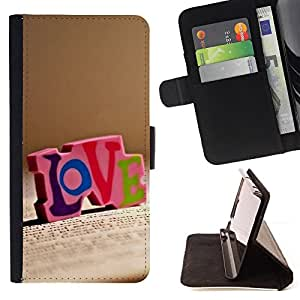 DEVIL CASE - FOR HTC One M9 - Love LOVE - Style PU Leather Case Wallet Flip Stand Flap Closure Cover