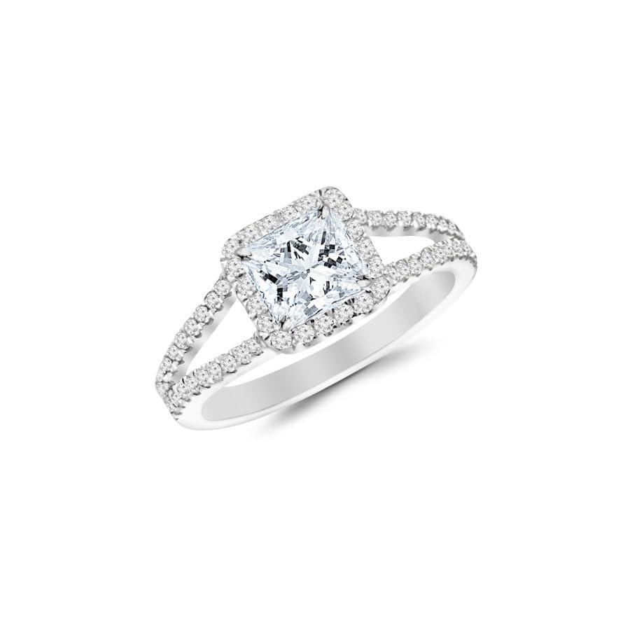 1.05 Carat Princess Cut/Shape 14K White Gold Halo Style Double Row Pave Set Designer Diamond Engagement Ring ( I J Color , I1 Clarity )