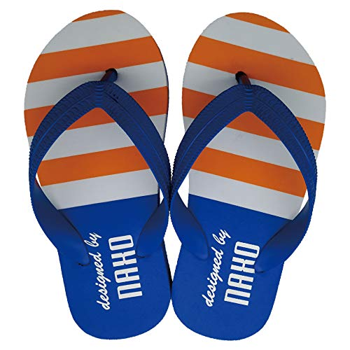 (Naxo Kids' Beach Thong Sandals Boys Flip Flop Summer Shoe Striped Color White)