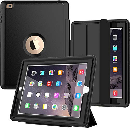 SEYMAC iPad 4th Generation Case, iPad 2 Case Heavy Duty Full Body Rugged Shockproof Drop Protection Case with Trifold Stand Smart Auto Wake/Sleep Cover for iPad 2nd/ 3rd/ 4th Generation (Black) (Best Ipad Case For Drop Protection)