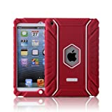 Honeycase Extreme-Duty Military Transformer Hybrid Shockproof & Drop Rresistance Anti-slip Soft Silicone Case Cover for Apple iPad Air/ iPad 5 (Red)