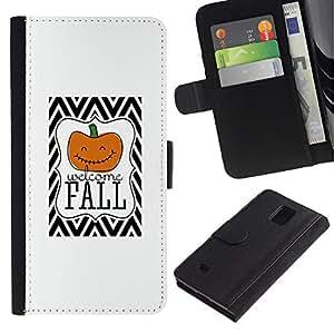 Billetera de Cuero Caso Titular de la tarjeta Carcasa Funda para Samsung Galaxy Note 4 SM-N910 / Halloween Pumpkin Orange White / STRONG