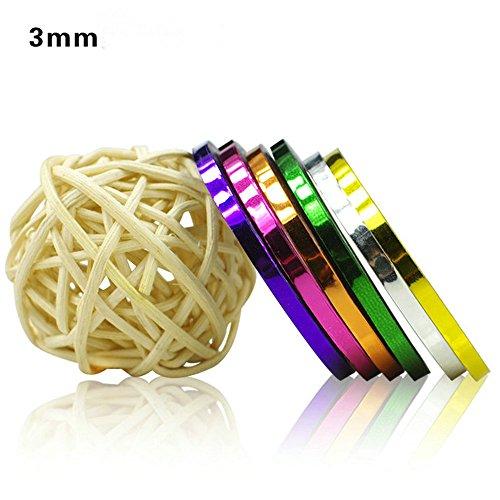 3mm Nail Striping Tape 10 Pcs Mixed Colors Rolls Striping Tape Line DIY Nail Art Tips Decoration Sticker Nail Care (mixed 10color)