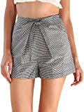 Simplee Women's High Waisted Shorts Summer Casual Bottom Black Plaid US 4-6