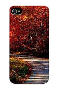 Christmas Gift - Tpu Case Cover For Iphone 4/4s Strong Protect Case - Landscapes Trees Forest Roads Design