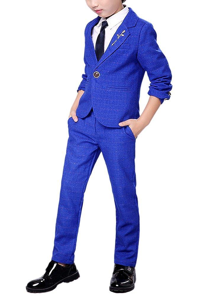 YUFAN Boys Royal Blue Suits and Dark Purple Suits 2 Colors Blazer Jacket and Pants Suit Set