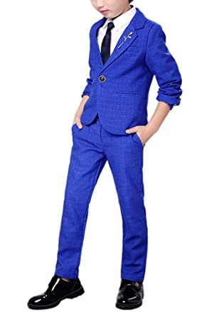 bd7b2553e Amazon.com  YUFAN Boys Royal Blue Suits and Dark Purple Suits 2 ...
