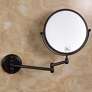 Auswind Antique Black Oil Bronze Brushed Bathroom Makeup Mirror Wall Mount 8 Inch