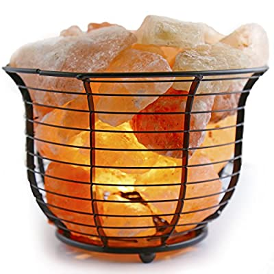 Crystal Allies Metal Wave Cube Basket Salt Lamp Made from Natural Himalayan Pink Salt Crystal Chunks, with Bulb and Cord Ð Choose Your Design
