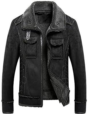 K3K Men's Winter Warm Vintage Classic Real Suede Leather Fur Coat Outwear Lamb Wool Lining Outdoor Bomber Biker Jacket
