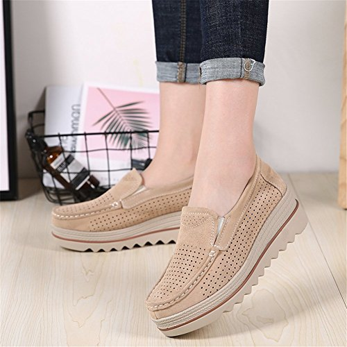 Sanyes Women Platform Slip On Loafers Comfort Suede Moccasins Wide Low Top Wedge Shoes SYSGX3088-Khaki Hollow-42