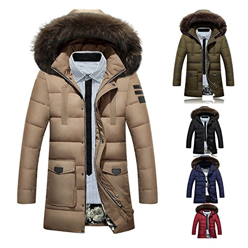 Black Hood Fur Winter Coat with Parka Men's Warm Hoodie Down Winter Hibote Removable Coat Jacket S XXL SRwanO