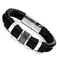 Besteel Punk Rock Charms Braided Leather Bracelet for Men Stainless Steel Clasp Wrist Bracelet 7.5-9.1 inches