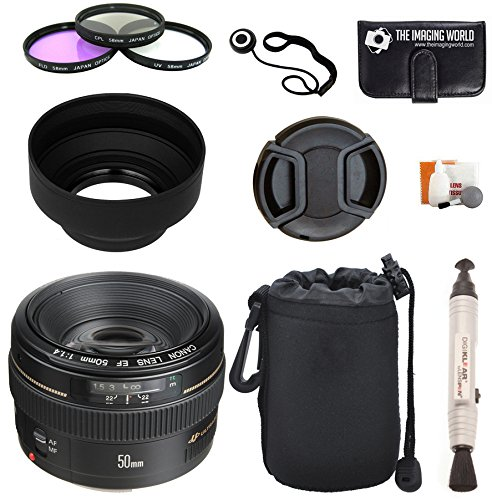 Cheap Canon EF 50mm f/1.4 USM Standard & Medium Telephoto Lens for Canon SLR Cameras + Pouch + Filter Kit + Lens Cleaner + Digital Camera Lens Accessories Bundle