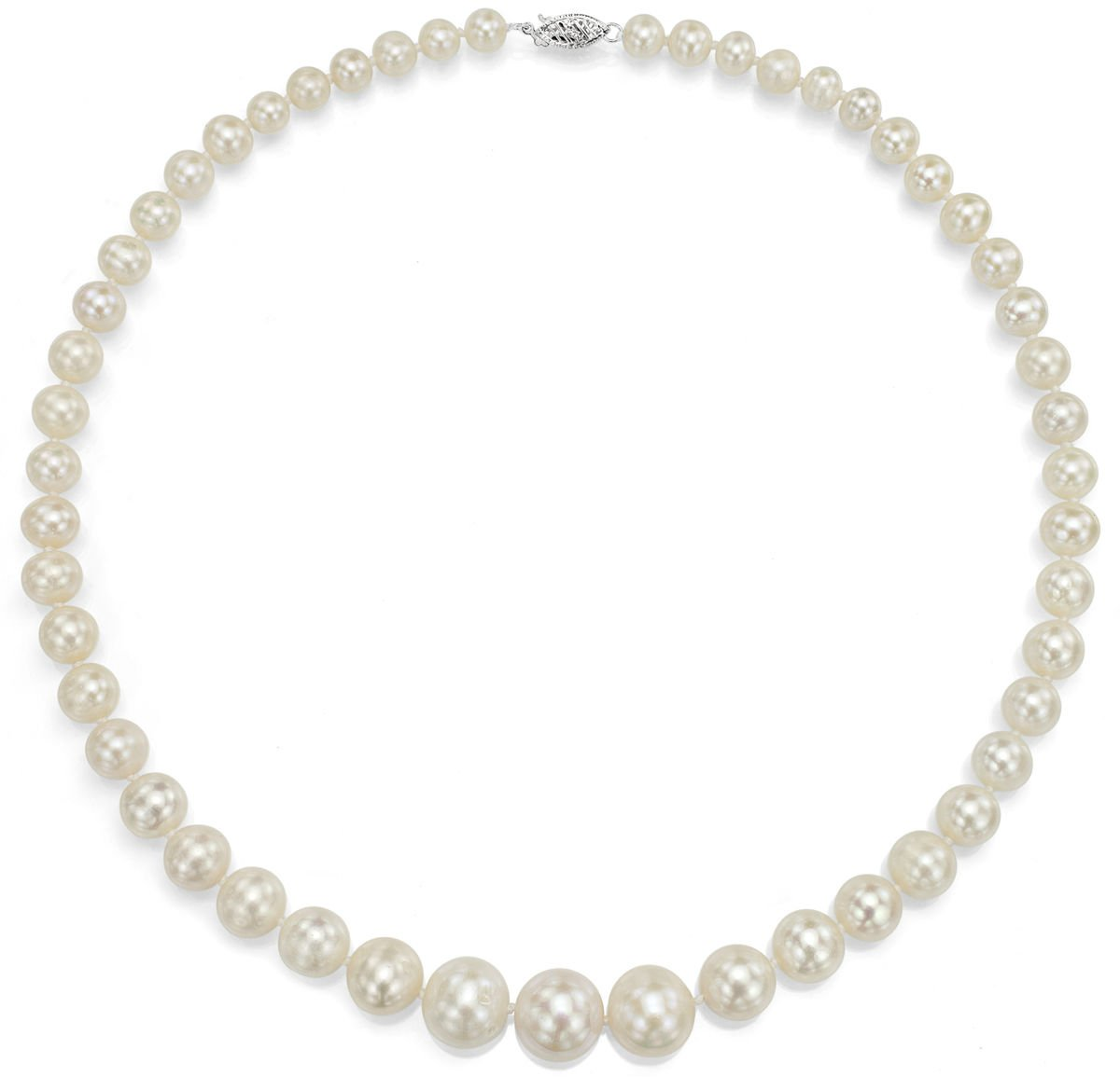 Sterling Silver Graduated 6-13mm White Freshwater Cultured High Luster Pearl Necklace, 18''