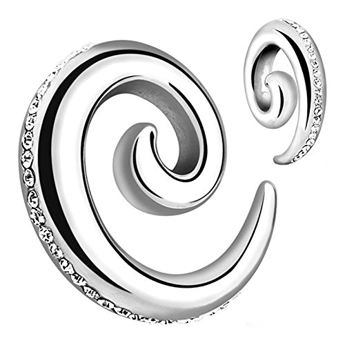 Gem Taper - BodyJewelryOnline Pair of Clear Paved Gems 316L Surgical Steel Spiral Ear Tapers - 8ga to 0ga (08mm - 0g)