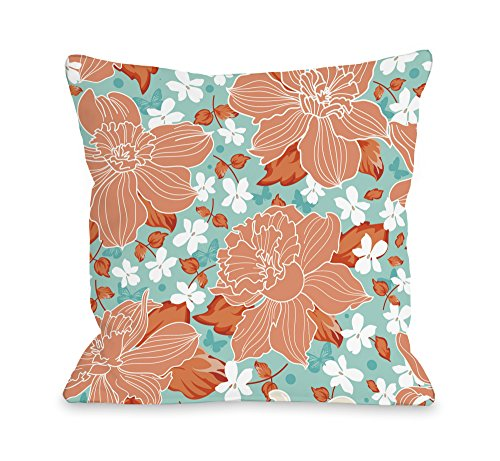 Turquoise Flower Coral (One Bella Casa Exotic Flowers Outdoor Throw Pillow by OBC, 18