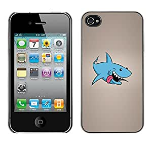 YiPhone /// Prima de resorte delgada de la cubierta del caso de Shell Armor - Funny Laughing Shark - Apple iPhone 4 / 4S