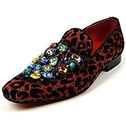 Leopard Velvet with Multi Color Crystals Slip on