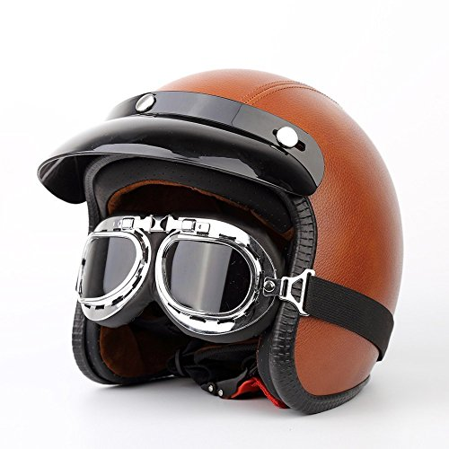 Meiyiu - anteojos de Estilo clásico para Motocicleta, Motocicleta, Moto, Patinete Volador, Aviador, Casco, Tawny