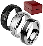 Velette Tungsten Ring- set of 3 Mens Rings in a Beautiful Wood Gift Box by (7.5)