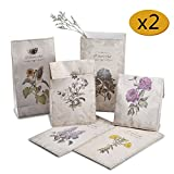 Syndecho 12pcs Flowers Floral Kraft Paper Gift Bags Candy Cookie Baking Bags with 12pcs Stickers,2 Jutes and 2 Ornaments for Birthday, Wedding, Celebration 4.72.48.7 inch-Gift Set (12pcs)