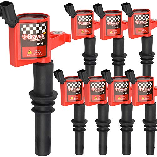 - High Performance 8 PACK Straight Boot Ignition Coils 15% More Energy F-150 for Ford Lincoln Mercury V8 V10 4.6l 5.4l 6.8l Compatible with DG511 C1541 FD508-Upgrade (RED)