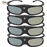GooDee DLP Link 3D Glasses, Ultra-Clear HD 144 Hz 3D Active Rechargeable Shutter Glasses for 3D DLP Link Projectors-BenQ, Optoma, Dell, Mitsubishi etc-4 pack