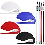 4 Pieces Letter Openers Set, SENHAI Plastic Envelope Package Slitters, Paper Knife Blade, Office Home Supplies Man Women 4 Pcs Key Rings (White, Blue, Red, Black)