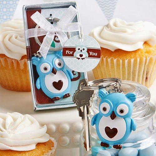 100 Cute Little Blue Owl Key Chain Favors