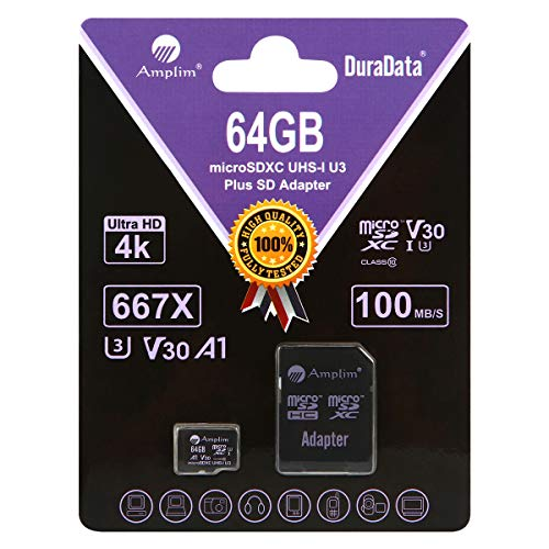 30 A1 Card Plus SD Adapter Pack. Amplim 64 GB Ultra High Speed 667X 100MB/s UHS-1 MicroSDXC TF Flash Memory. Class 10 UHS-I MicroSD XC Extreme Pro for Phones, Drones, 4K Cameras ()