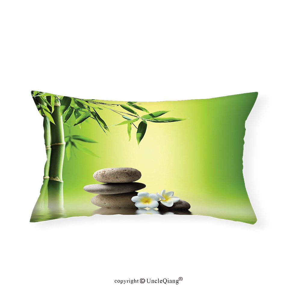 VROSELV Custom pillowcasesBamboos Spa Decor Collection Japanese Therapy and Relaxation Stones Frangipani Flowers Design Bedroom Living Kids Girls Boys Room Dorm Accessories Green Yellow(12''x18'')