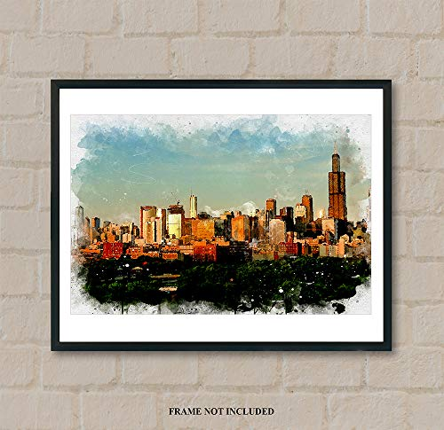 (Chicago - Watercolor Art Prints -11 x 14 Unframed Print - Great Gift under)