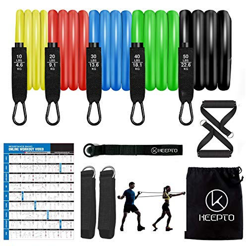 KEEPTO Resistance Bands Set Exercise Workout Fitness Bands with Door Anchor Handles for Men&Women Resistance Training Physical Therapy Home Workouts Yoga Pilates,150 LBS(12PCS)