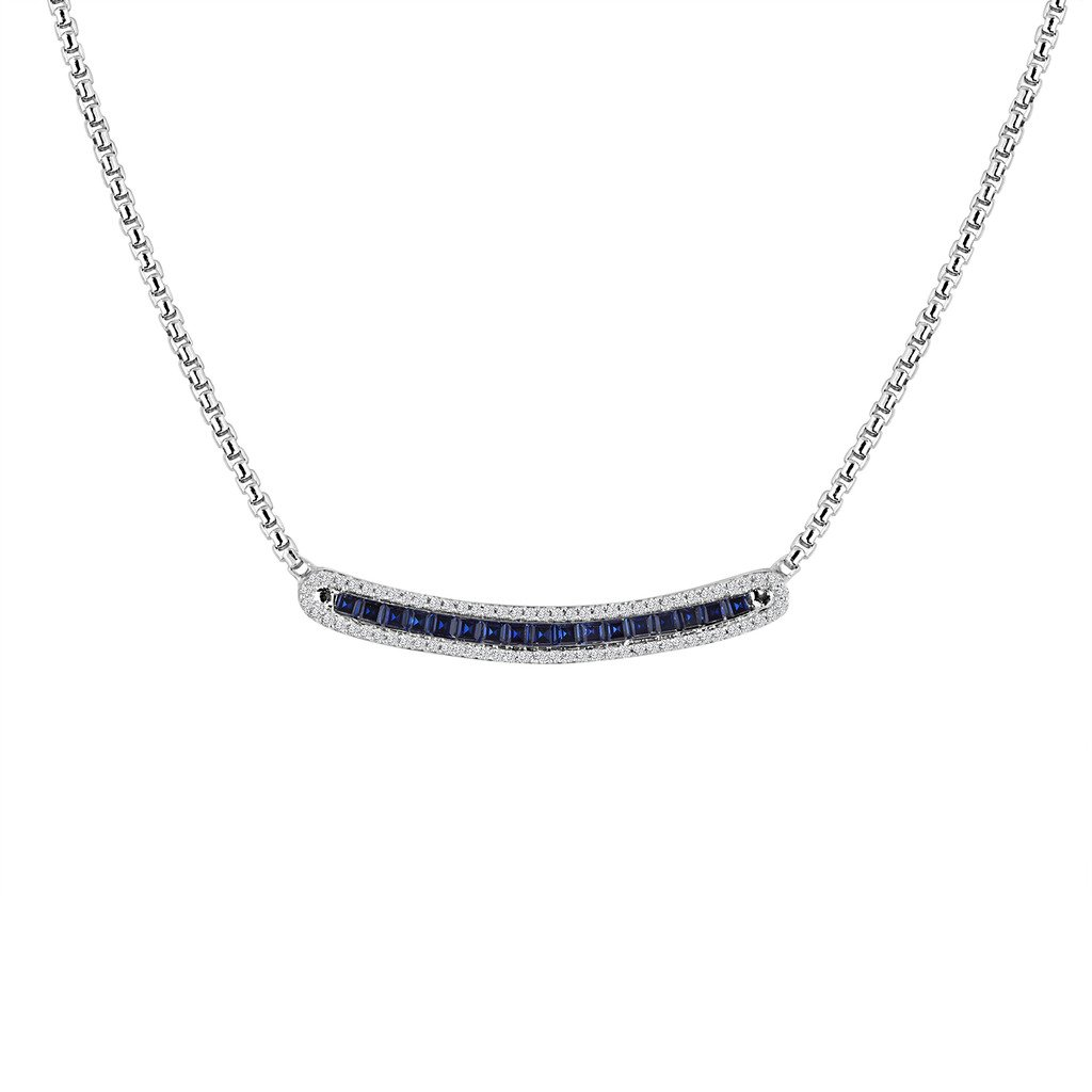 Rhythm & Muse Sterling Silver Created Blue & Created White Sapphire Halo Bar Necklace