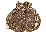 Indian sequence Potli Bag/ wedding purse/jewelery purse for girls & women (Base Color- Dark Brown)