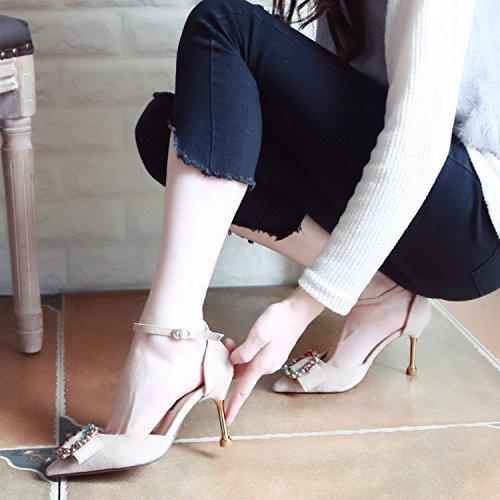 Xue Qiqi Tribunal Zapatos con Finas y Zapatos de Tacón Alto versátil ranurados para Zapatos de Mujer Señaló Pajarita Agua Superficial Solo Zapatos Boca Hembra Arena