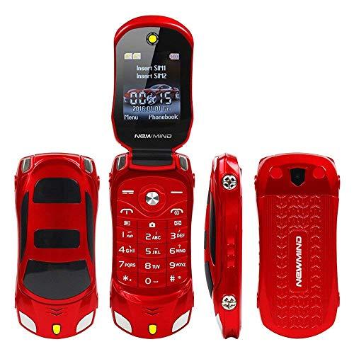 Sports Car Model F15 Mini Flip Phone Dual SIM Card Flashlight MP3 Backup Phone Best for Kids Students (Red) (Flip Phone Sim Card)