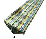LivebyCare Multi-Size Both Sides Stripe Printing Table Runner with Tassels Stripe Printed Cotton Linen Fabric Table Decoration