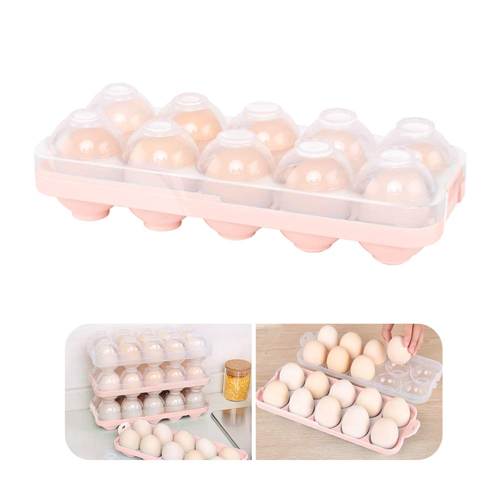 Kitchen Egg Tray, Clear Egg Storage Container Kitchen Egg Holder with Lid for Refrigerator Portable Egg Case Storage Bin for Fridge Camping, 10/20 Eggs Box Carrier (Blue) (Pink)