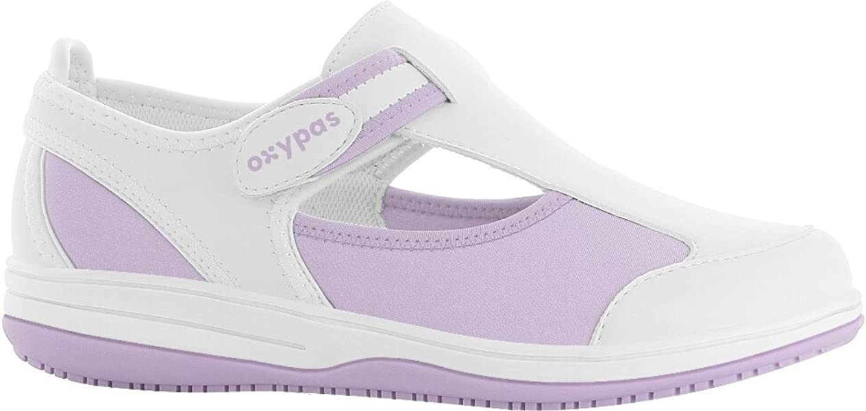 11c568eebde Oxypas Chaussure médicale Blanche et Parme SRC Antistatique en Lycra ...