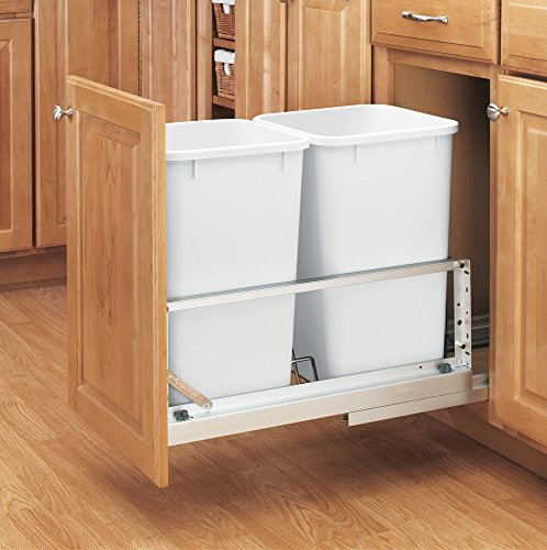 Rev-A-Shelf - 5349-1527DM-2 - Double 27 Qt. Pull-Out Brushed Aluminum and White Waste Container