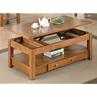 Occasional Group Collection 701438 48 Coffee Table with Lift Top Storage Drawer Bottom Shelf Metal Hardware and Oak Veneer Materials in Amber Finish